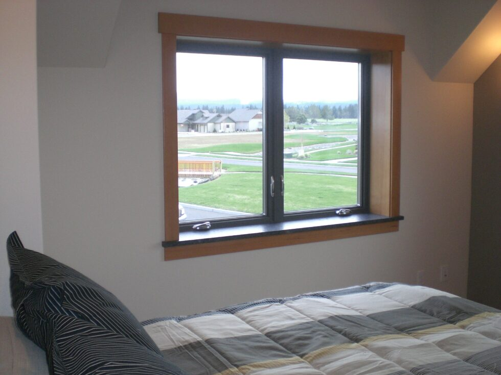 One of the upstairs bedrooms in the Armstrong Passive Solar Home in Sisters OR