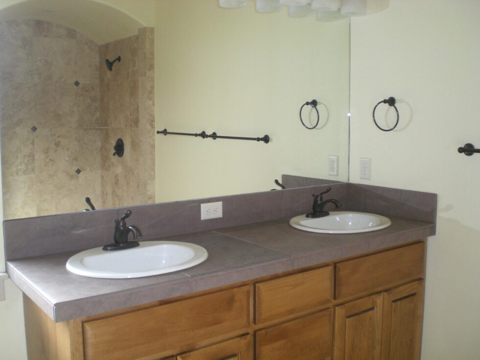 About Bend builder Jeff Payne of Panterra Homes- master bath vanity